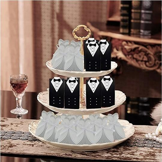 White & Silver 50pc Bridal Dress Wedding Party Favor Gift Boxes Image 4