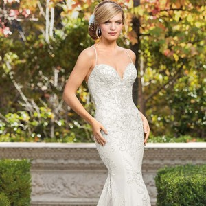 Casablanca Champagne/Silver Chantilly Lace Stretch Georgette Gown Sexy Wedding Dress Size 12 (L)