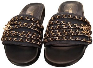 Chanel Sandals Slip On Slides Chains Tropiconic Navy Mules