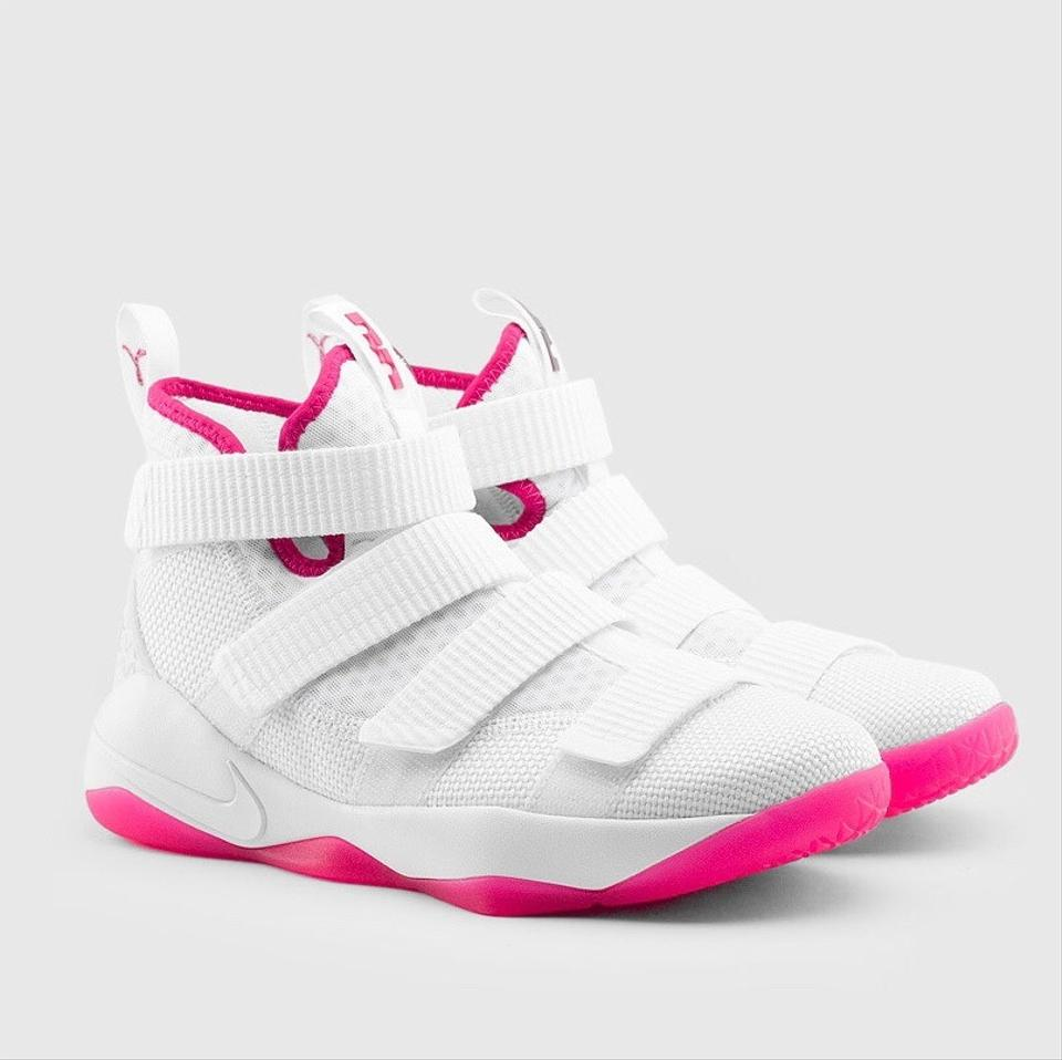 new concept a50da dbd92 Nike Pink/White New Zoom Lebron James' Soldier 11 Sneakers Size US 8  Regular (M, B)