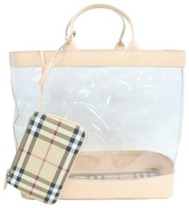 Burberry Nake See Through Translucent Clear Pvc Tote in Beige dd6ce1eabbcae