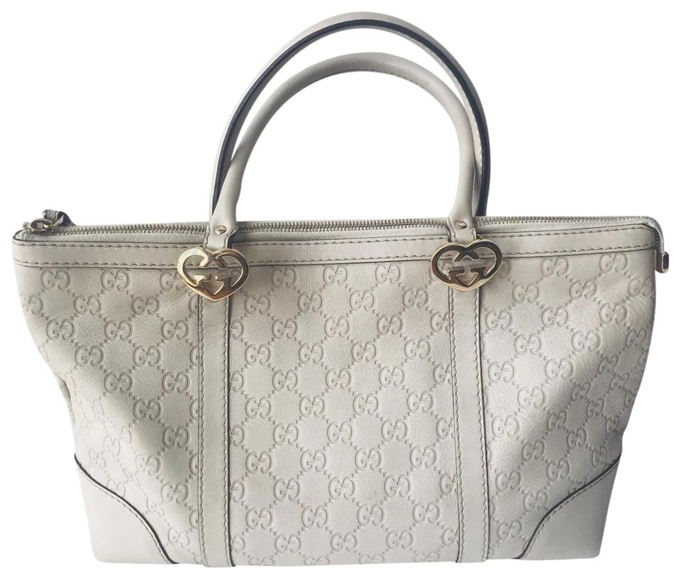 302ab30e1df Gucci Lovely Heart Shaped Interlocking Ivory Leather Tote - Tradesy