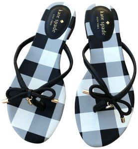 Kate Spade Black and White Gingham Check Sandals