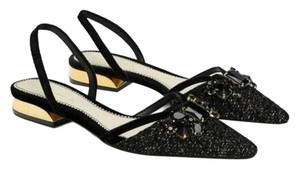 Zara Sandal Slides Pointy Jeweled black Flats