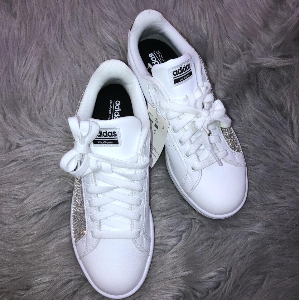 adidas White Custom Rhinestone Crystal Sneakers Sneakers Size US 8 ... 2e68dd5319