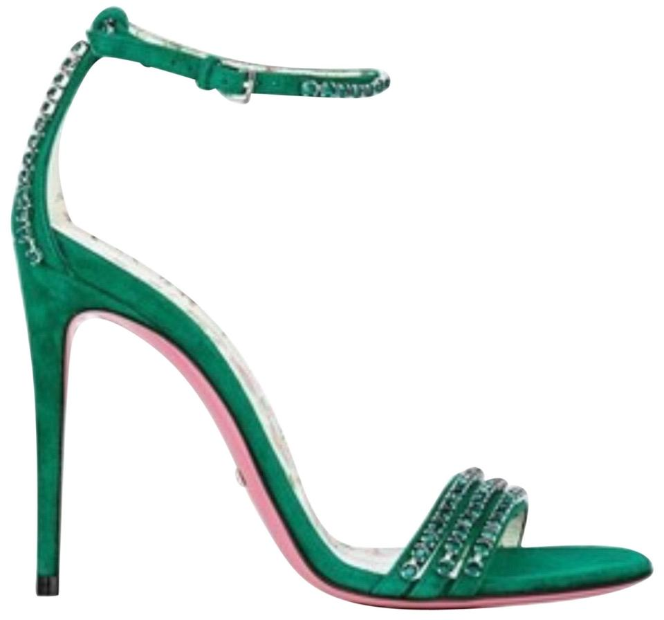 e6f22353a24a Gucci Green Suede Sandal with Crystals 488692 Right Only Amputee ...