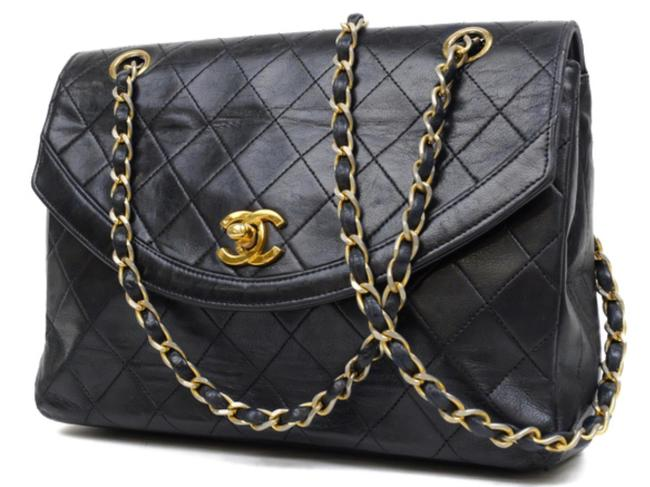 Chanel Diana Quilted Mark Chain Flap 234150 Black Lambskin Shoulder Bag Chanel Diana Quilted Mark Chain Flap 234150 Black Lambskin Shoulder Bag Image 1