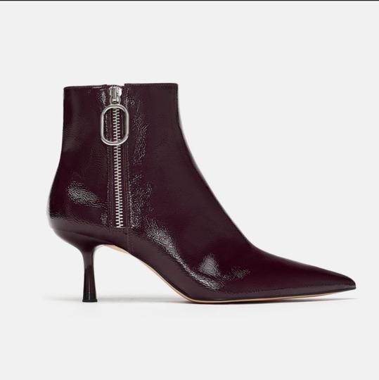 2d86d53c27b6 Zara Burgundy Patent Finish Ankle Boots Booties Size EU 39 (Approx ...