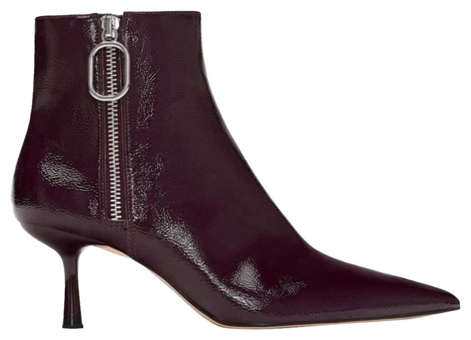 6254559df44 Zara Burgundy Patent Finish Ankle Boots/Booties Size EU 39 (Approx ...