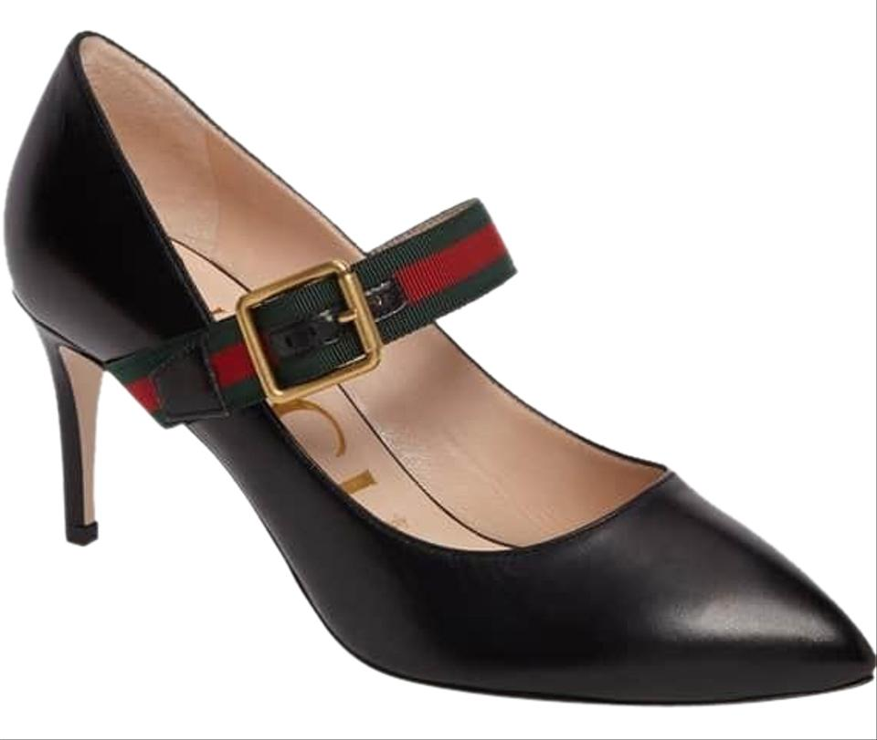 a4da04cd8 Gucci Black Sylvie Mary Jane Heel Leather 40 Pumps. Size: US 10 ...