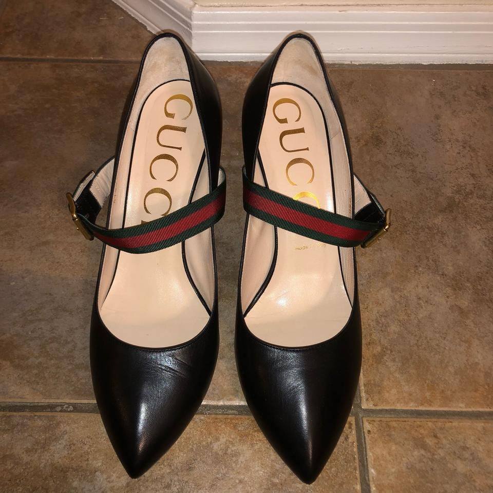 d6e9adad1 Gucci Black Sylvie Mary Jane Heel Leather 40 Pumps Size US 10 Regular (M,  B) - Tradesy