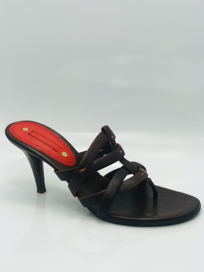034c7628bd0e02 Céline Leather Thong Strappy Brown Sandals Image 3