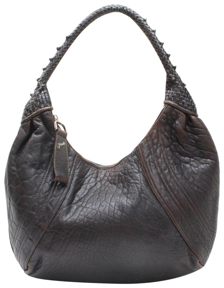 9431a310d0e54 Fendi Spy Style Purses Supple Brown Leather with Woven Leather Details Hobo  Bag