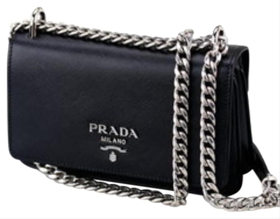 64ac174d2539 Prada Phenix Women's Bandoliera Vitello 1bh079 Black Leather Cross Body Bag
