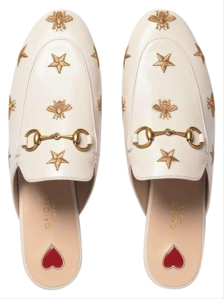 ba998027348 Gucci White Princetown Embroidered Bees Stars Leather Slipper Mules ...
