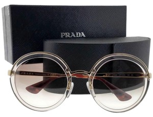Prada PR50TS-VYT4O0-54 Round Women's Gold Frame Brown Lens Sunglasses