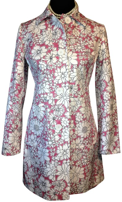 Item - Pink & White Floral Design Structured Jacket/Coat Jacket Size Petite 2 (XS)