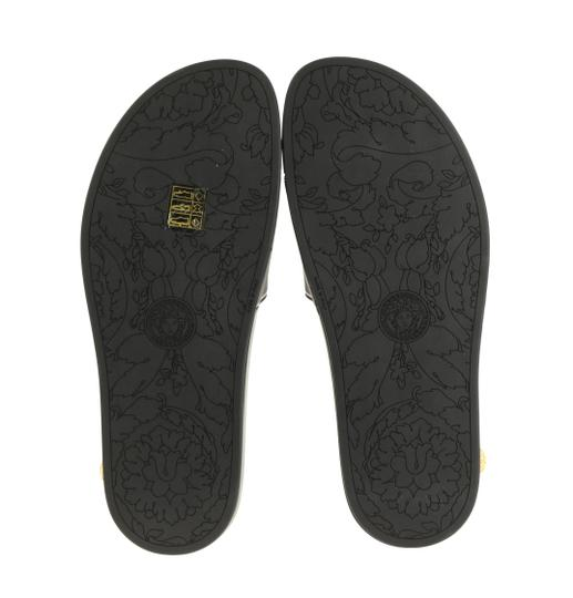 Versace Leather Rubber Black Sandals Image 10
