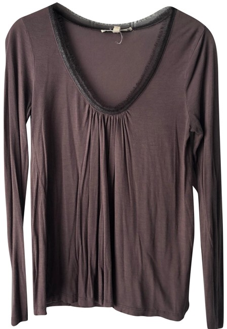 Item - Purple W Long Sleeve W/ Chiffon Trim Blouse Size 2 (XS)