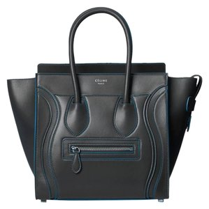 Céline Leather Satchel in Anthracide Gray