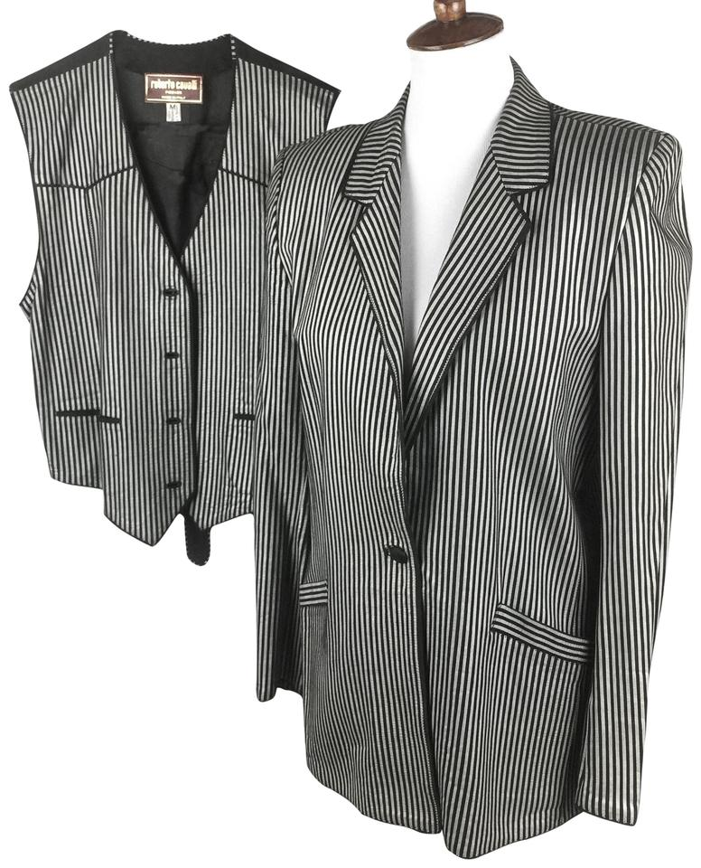 52160e12992a01 Roberto Cavalli Black Silver Metallic Pinstripe Leather Vest Set Blazer