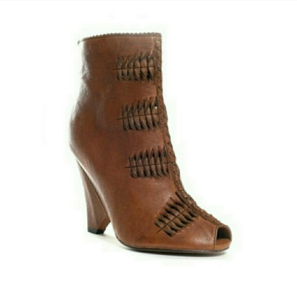 0e0053a2a Sam Edelman Whiskey Brown Krosby Leather Peep Toe Boots Booties Size ...
