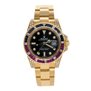 Rolex 18K YELLOW GOLD ROLEX GMT MASTER II 116718 40MM BLACK DIAL WITH MULTIC