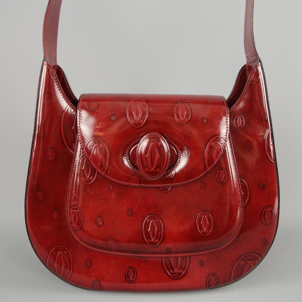 d855bf322 Cartier Burgundy Logo Embossed Patent