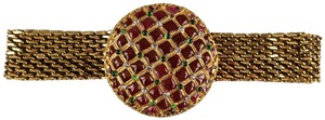 Chanel Gold Metal Burgandy Byzantine Buckle Belt