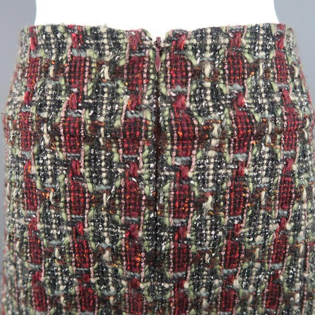 Chanel Wool Tweed A Line Boucle Vintage Skirt Green