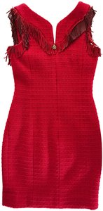 Chanel short dress Red Fringe Tweed Leather on Tradesy