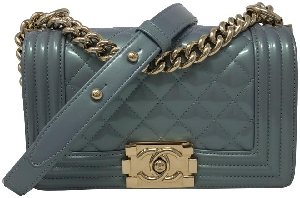 4a369fb02bec Chanel Boy Small Le Iridescent Pastel Blue Patent Leather Cross Body Bag