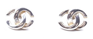 Chanel Timeless rare CC silver interlocking classic pierced stud earrings