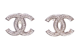 Chanel RARE Textured CC silver hardware pierced stud earrings