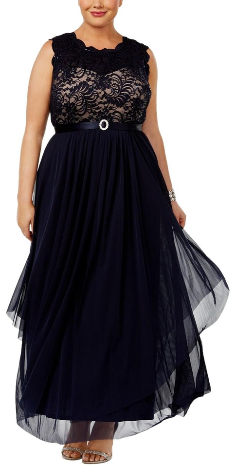 R & M Richards Navy/Taupe Embroidered Lace A-line Gown Navy/Taupe ...