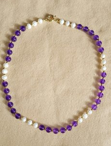 """Mother of Pearl Purple White 8mm Amethyst Natural 18"""" Necklace"""