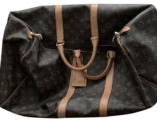 d7608dfb211b Louis Vuitton Keepall Brown Leather Weekend Travel Bag - Tradesy