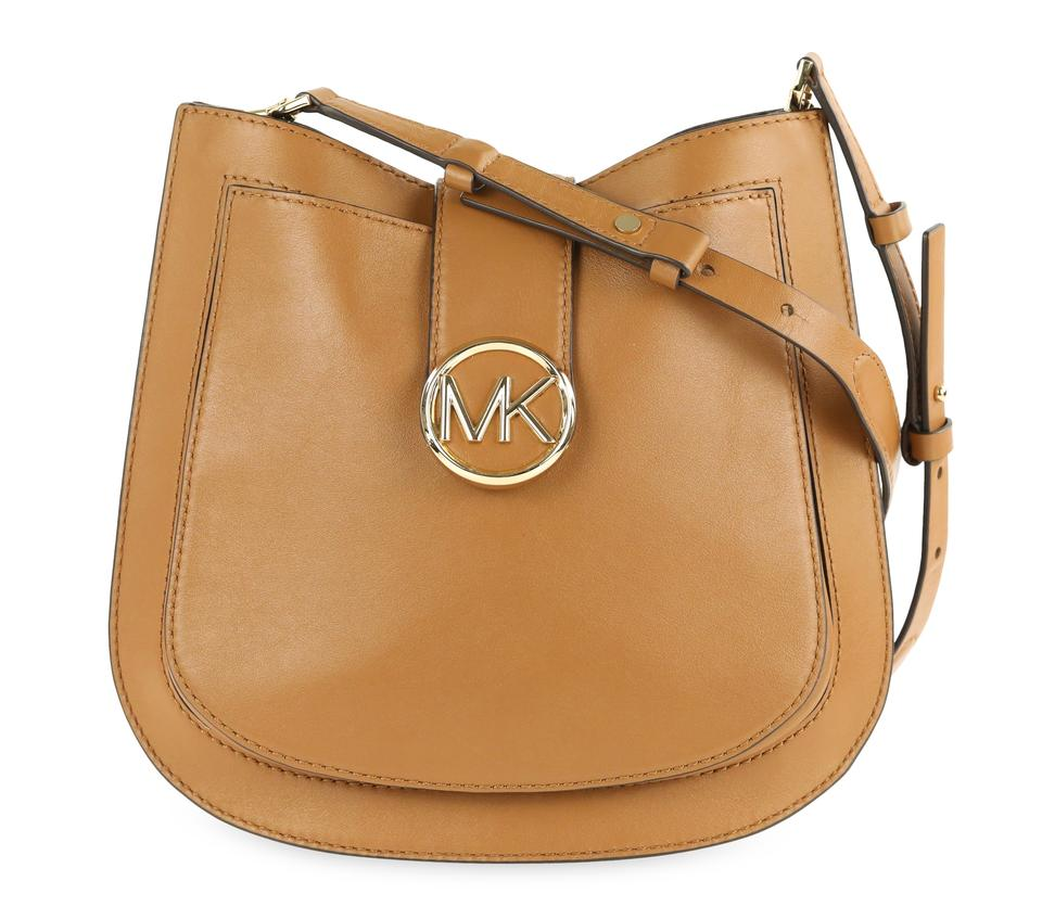 3556d2fbe42b Michael Kors Lillie Medium Acorn Brown Leather Shoulder Bag - Tradesy