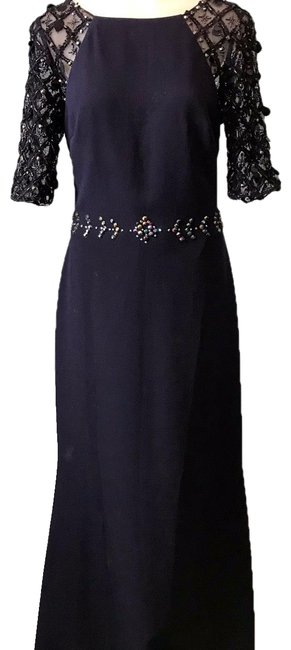 Badgley Mischka Navy Blue Crystal Embellished Waist Gown Long Formal Dress Size 6 (S) Badgley Mischka Navy Blue Crystal Embellished Waist Gown Long Formal Dress Size 6 (S) Image 1