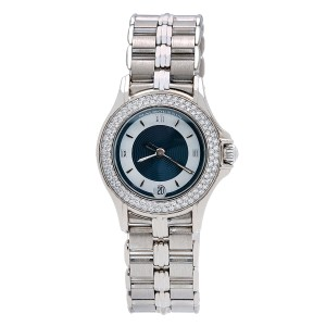 Mauboussin 18K WHITE GOLD MAUBOUSSIN LADY'S ROUND NO140 26MM WHITE AND BLUE DIAL
