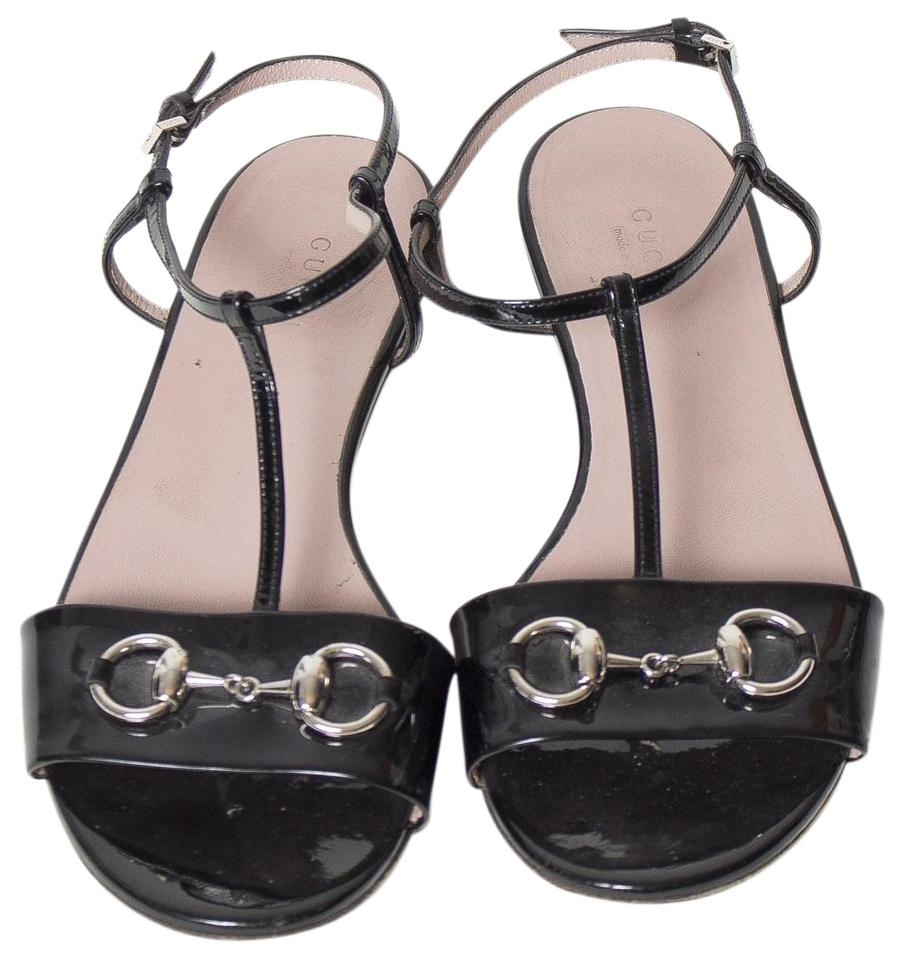 d5a65ace42ca Gucci Black Horsebit T-strap Flat Sandals Size EU 38 (Approx. US 8 ...