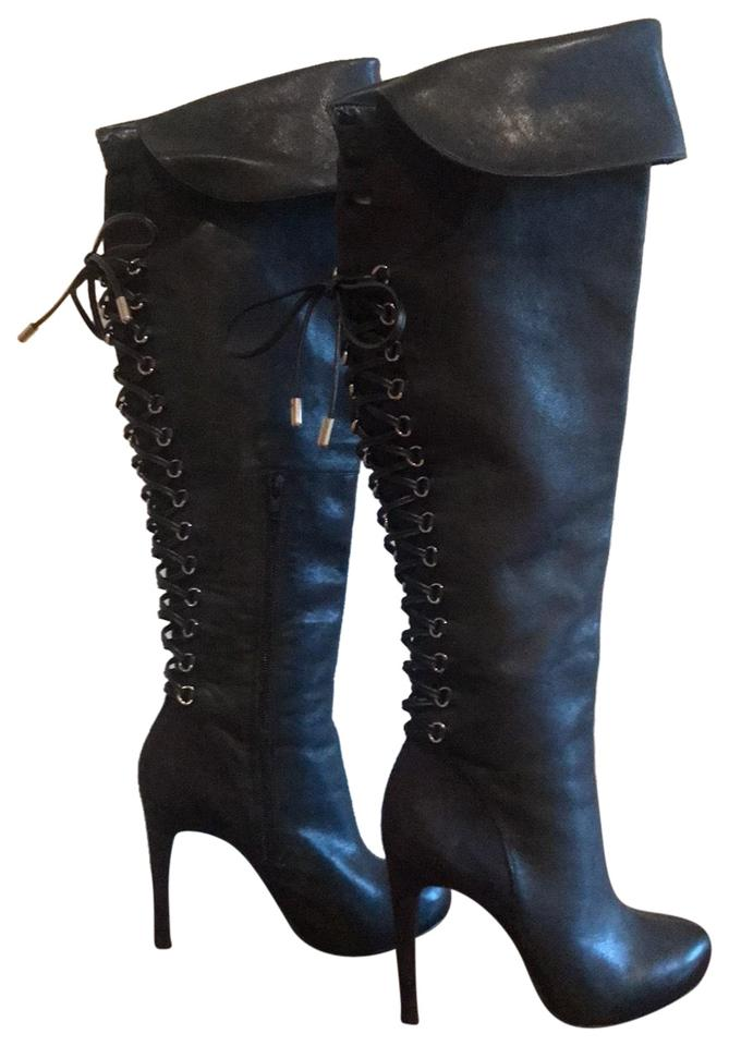 067a6f37b006d Jessica Simpson Black Over The Knee Lace-up Boots/Booties Size US ...