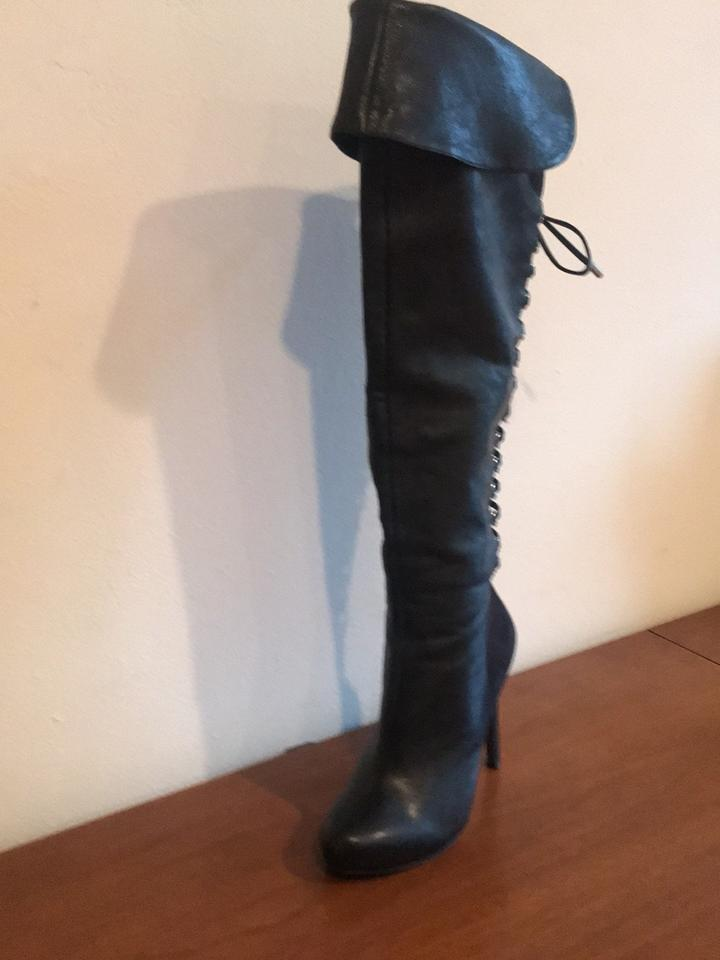 4a4d973bfa279 Jessica Simpson Black Over The Knee Lace-up Boots/Booties Size US 5.5  Regular (M, B) - Tradesy