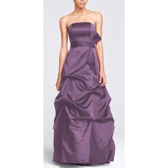 David's Bridal Purple Satin Strapless Ballgown with Pick-up Sash 81123 Formal Bridesmaid/Mob Dress Size 4 (S)