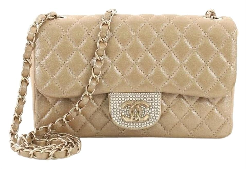 fc0710a88c9a Chanel Classic Flap Pearl Cc Crystal Quilted Iridescent Small Gold Fabric  Cross Body Bag