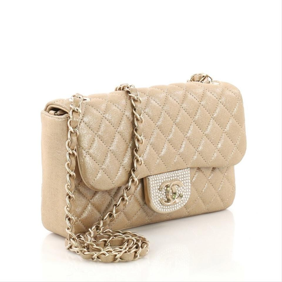 8e0bf59a77d0 Chanel Classic Flap Pearl Cc Crystal Quilted Iridescent Small Gold Fabric  Cross Body Bag - Tradesy