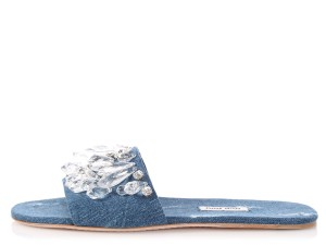 Miu Miu Denim Mm.q0201.25 Embellished Crystal Blue Sandals