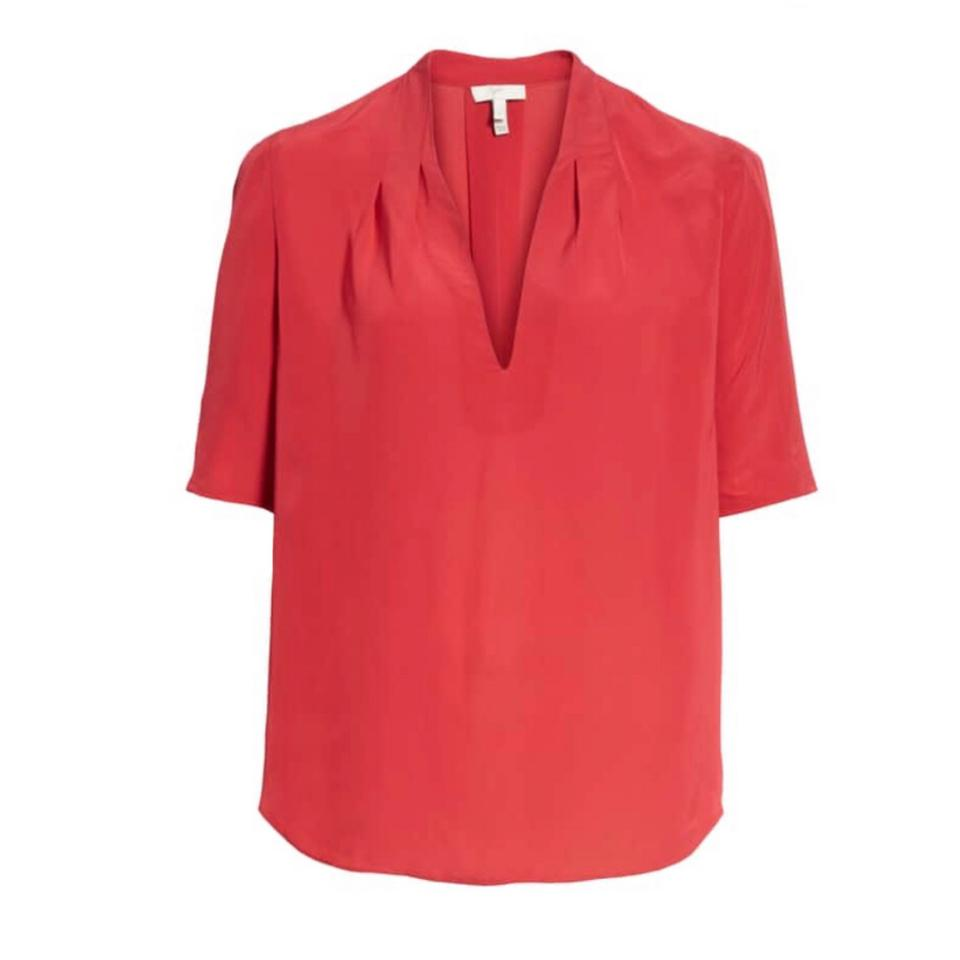 189c5e1fe475d Joie Red Ance Pleated Back Short Sleeve Blouse Size 2 (XS) - Tradesy