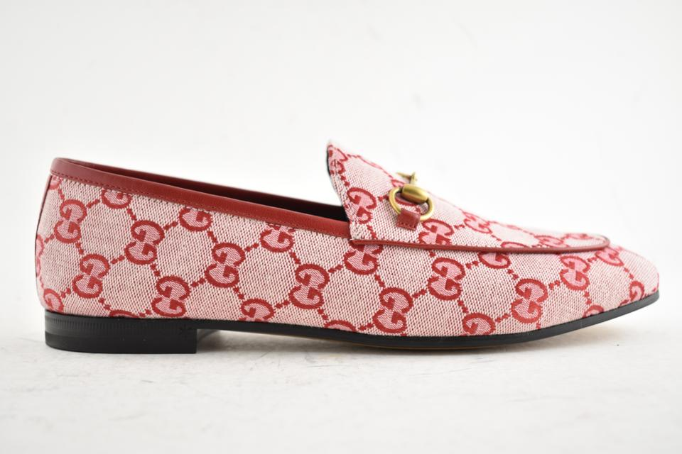 016905a5119 Gucci Red New Jordaan Canvas Logo Leather Brixton Loafer Mule Slipper Flats