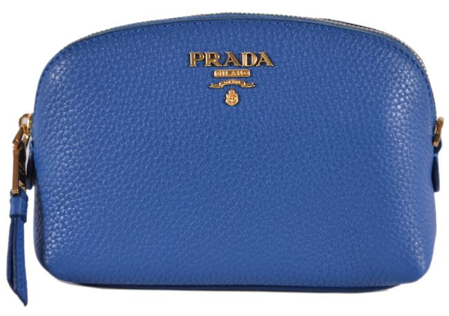 Item - Blue New Women's 1nd005 Textured Grain Leather Cosmetic Bag